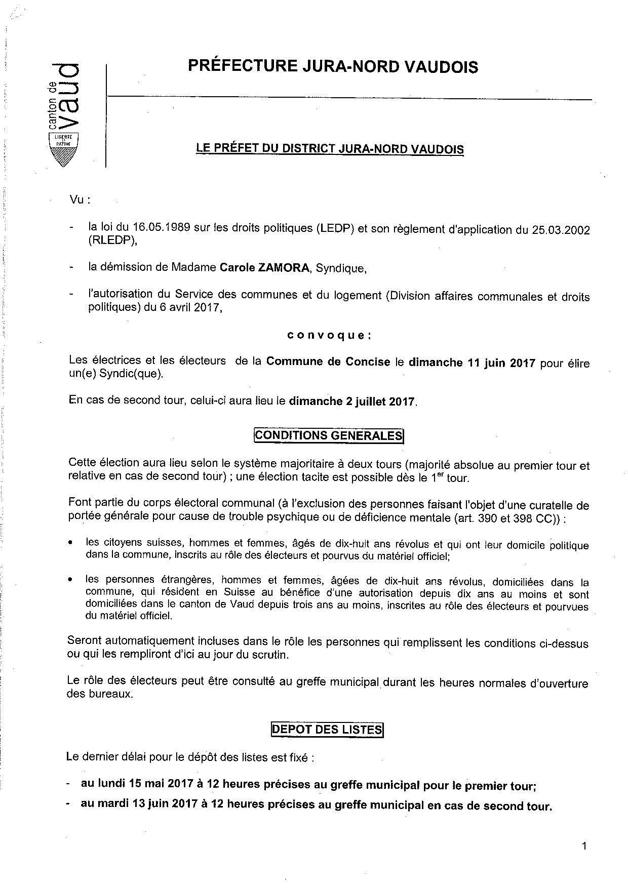 Convocation election du syndic 11 juin 2017 10.04.2017 Page 1