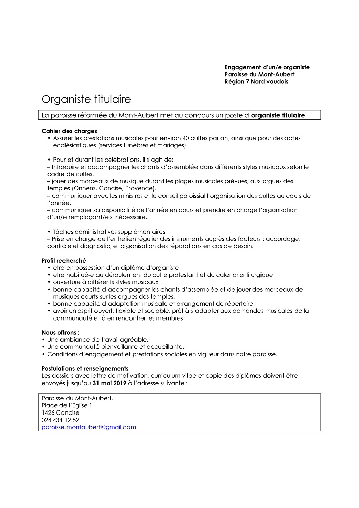 Organiste Titulaire