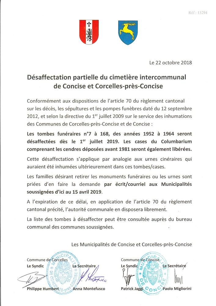 15294 Cimetière Corcelles Concise. Avis. Désaffectation partielle tombes urnes 2019 site