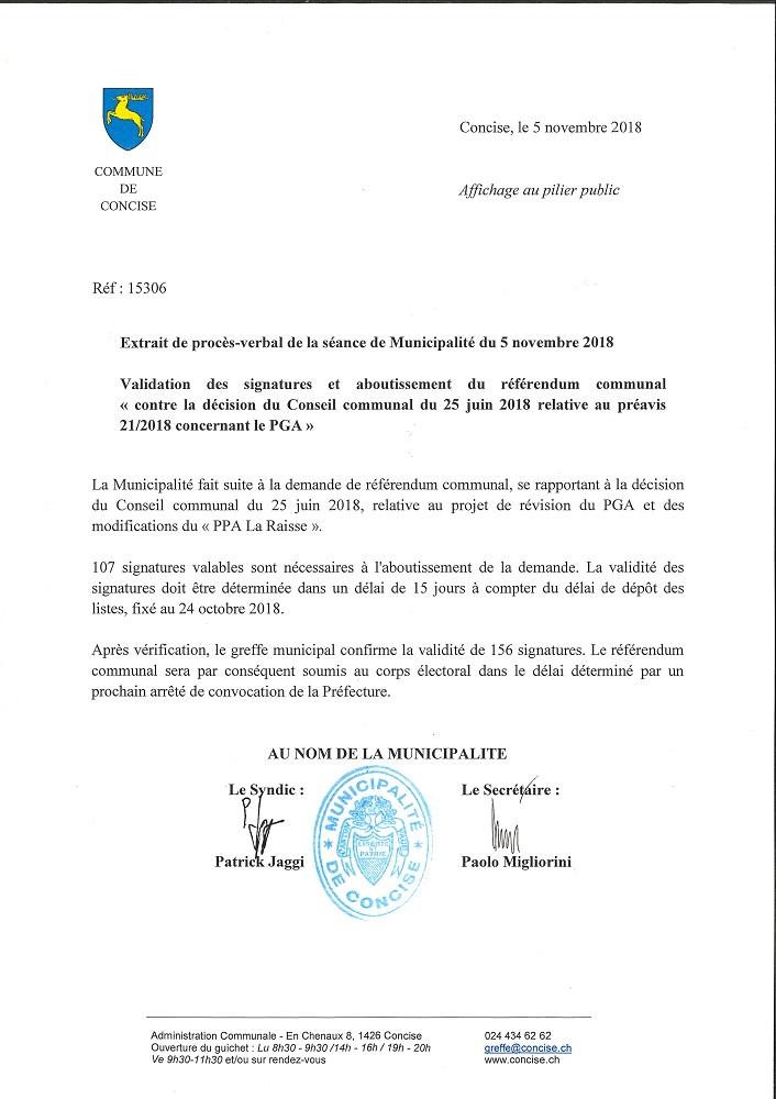 15306 Préfecture. Serge Moulin. Procès verbal. Aboutissement référendum communal. PGA