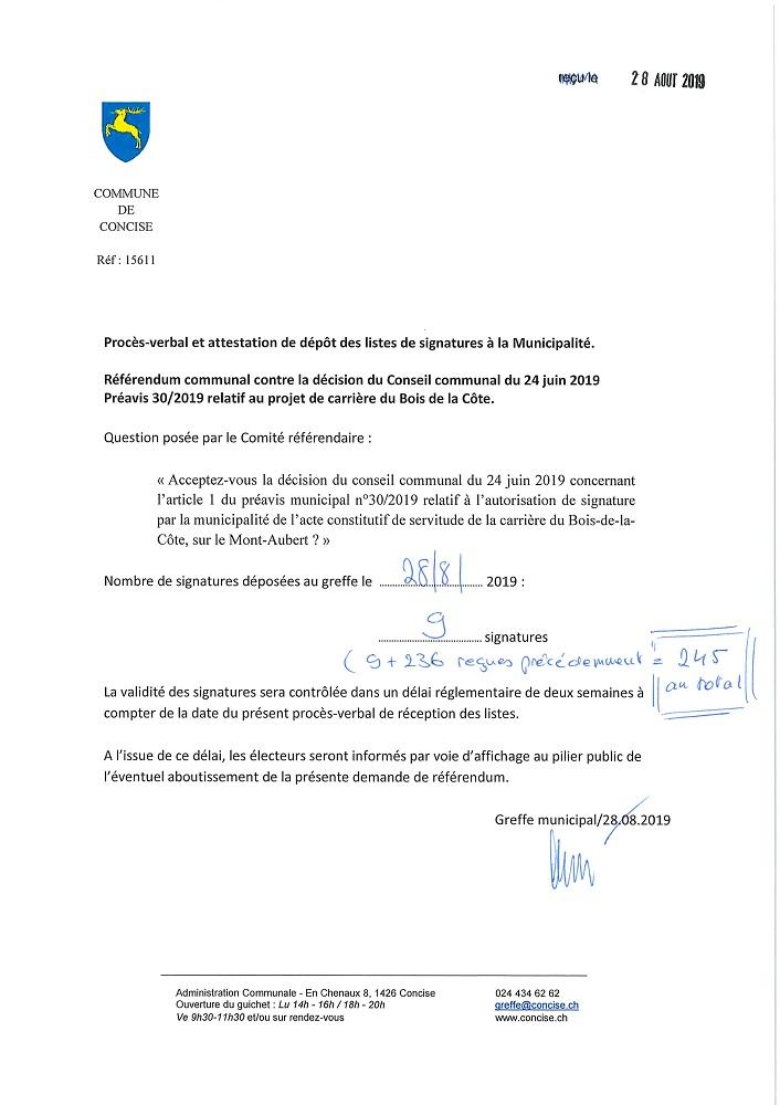 15611 Christos Nüssli Référendum PV réception signatures. Référendum vs préavis 30 2019 Carrière2