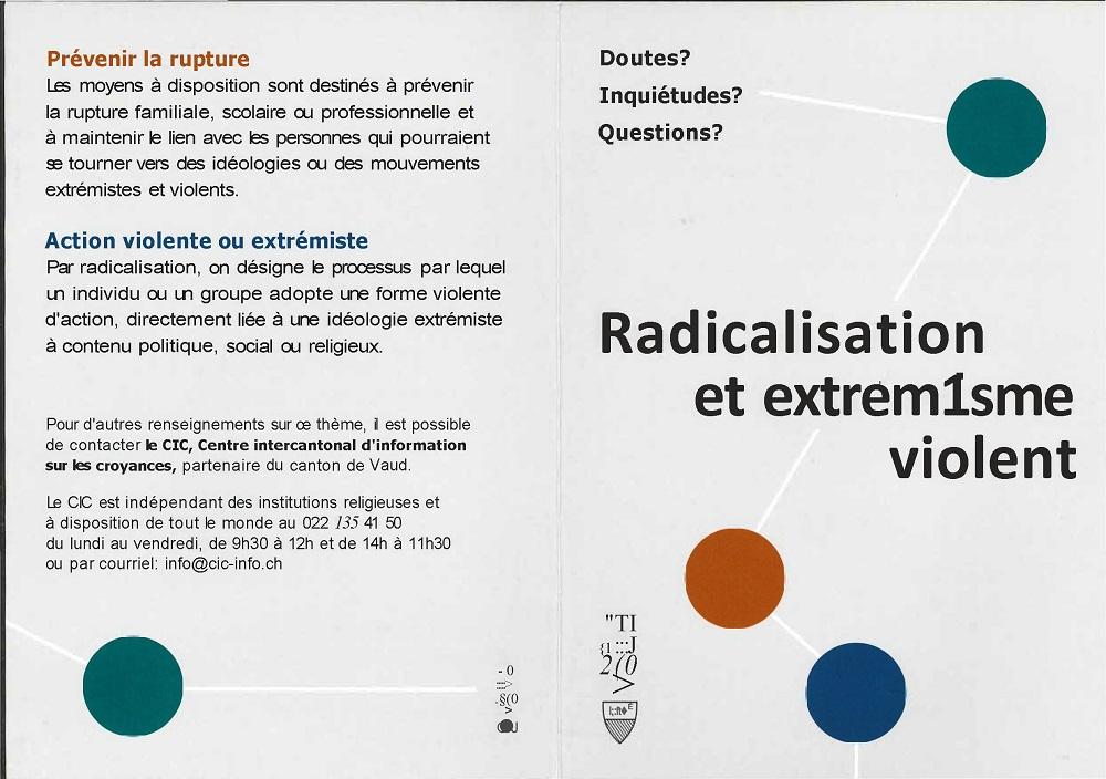 r 2541 Canton de Vaud. CIC. Avis. Hotline radicalisation extrémisme. Page 1