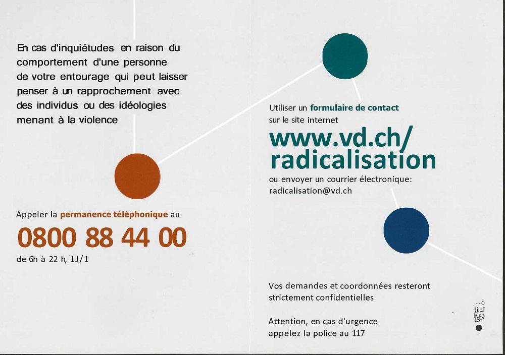 r 2541 Canton de Vaud. CIC. Avis. Hotline radicalisation extrémisme. Page 2