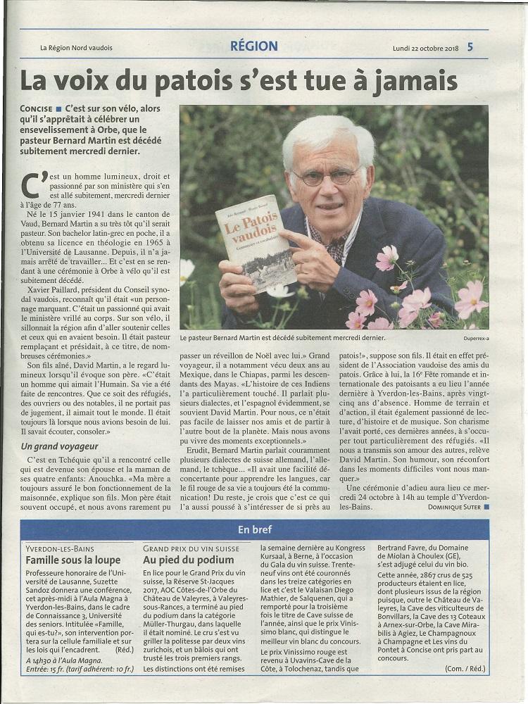 La Région. Article. Décès de M. Bernard Martin pasteur
