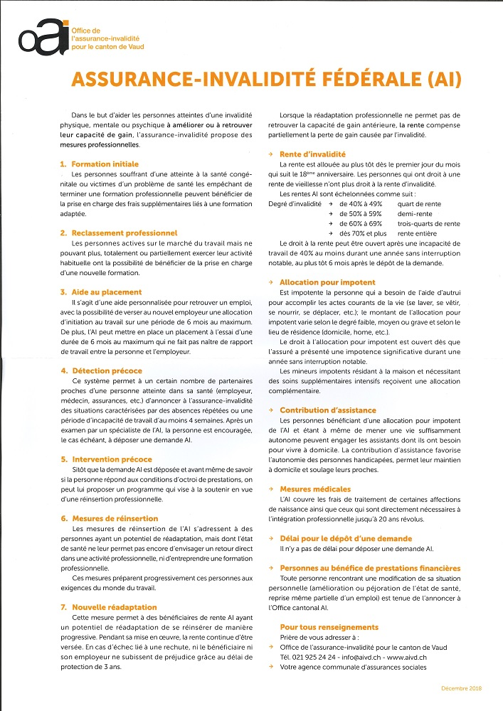 r 3053 Office Assurance invalidité. Information. Assurance invalidité