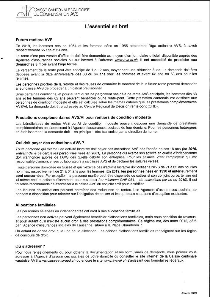 r 3140 Caisse de compensation. Avis. Informations AVS 2019