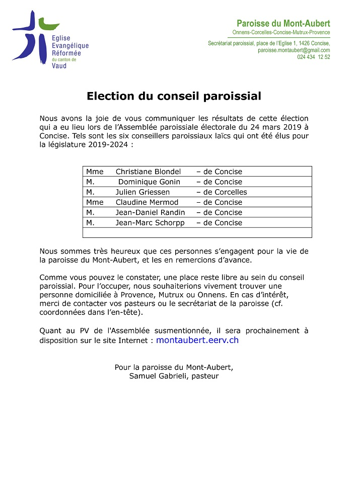r 3537 Paroisse. Election. Election Conseil de paroisse 24.03.2019
