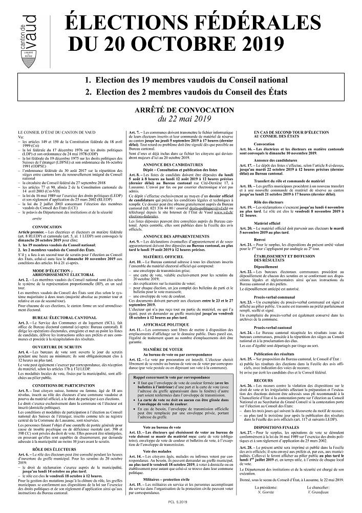 r 3809 Préfecture Votations Elections fédérales du 22 octobre
