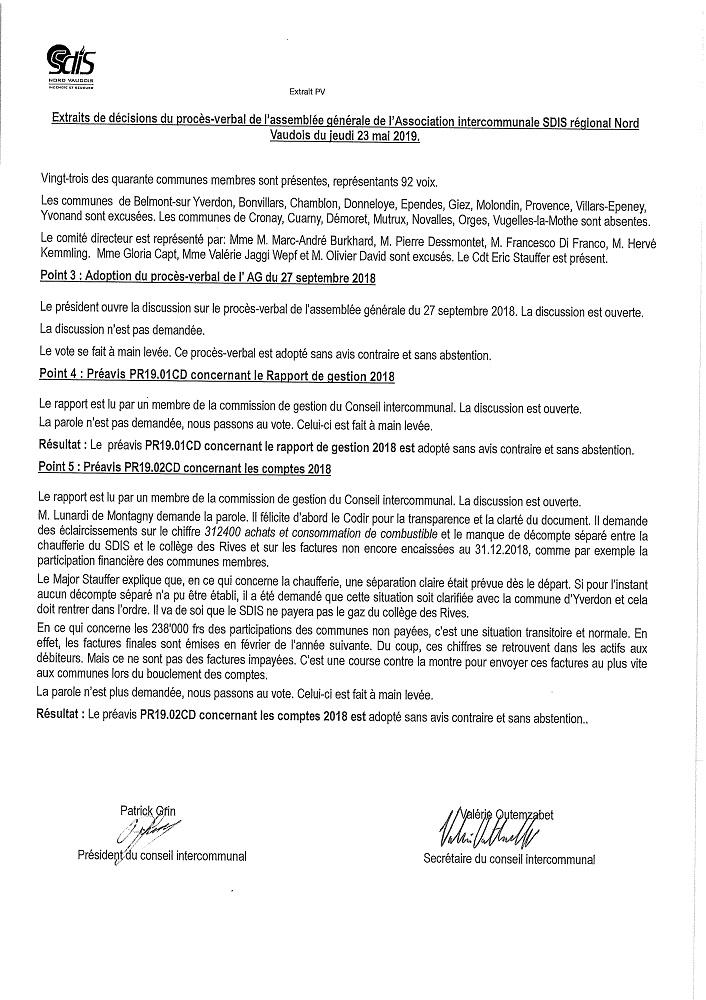 r 3953 SDIS Rapport Procès verbal. Séance du 23.05.2019 extrait