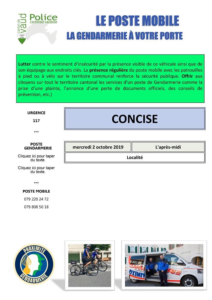 r 4196 Gendarmerie Avis Passage de poste mobile. Octobre 2019