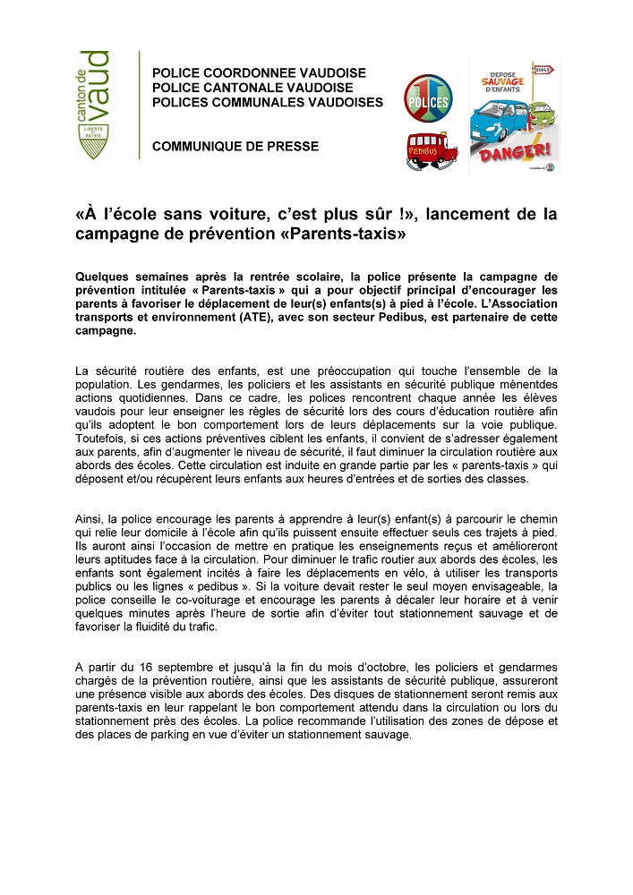 r 4244 Police cantonale Avis Sensibilisation Parents taxis 1