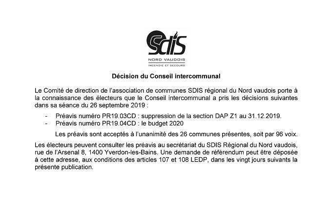 r 4738 SDIS Procès verbal Conseil Intercommunal SDIS NV du 26 septembre 2019