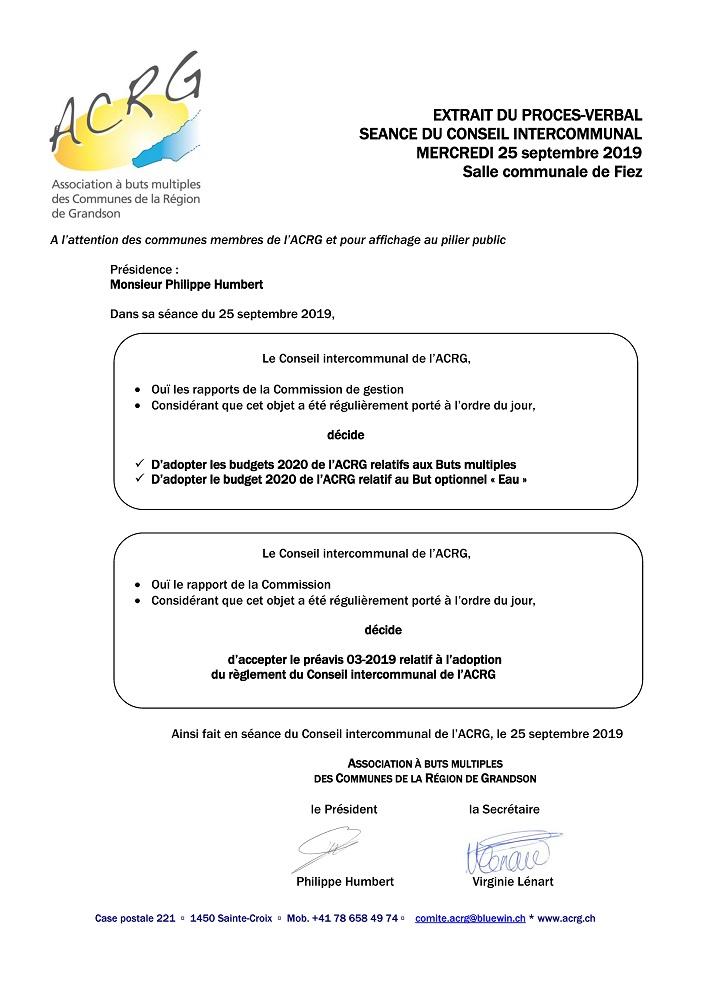 r 4742 ACRG Procès verbal Extrait PV du Conseil intercommunal du 25.09.2019
