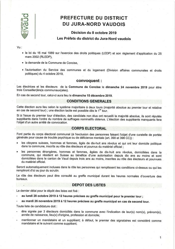 r 4751 Préfecture Convocation Election complémentaire au Conseil communal. 3 sièges. 24.11.2019
