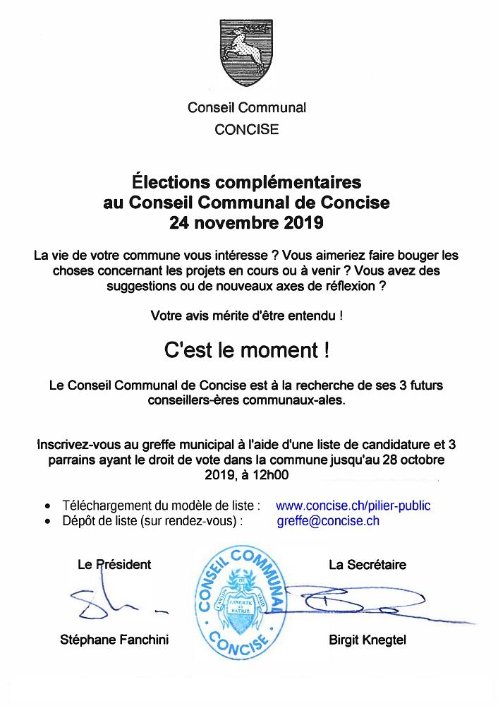 r 4766 Conseil communal Election Tout ménage octobre 2019. Election complémentaire